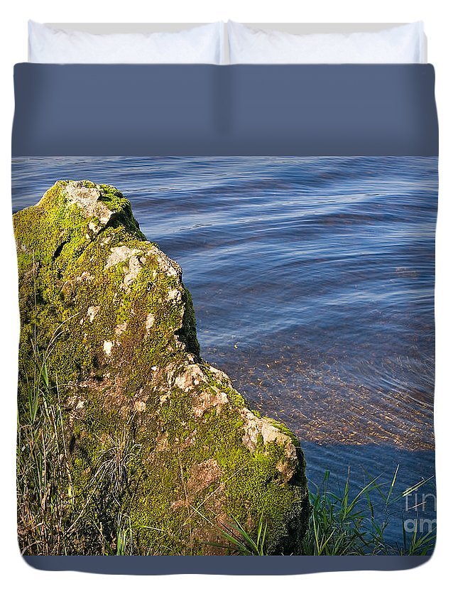 Landscape Duvet Cover featuring the photograph Moss Covered Rock And Ripples On The Water by Louise Heusinkveld