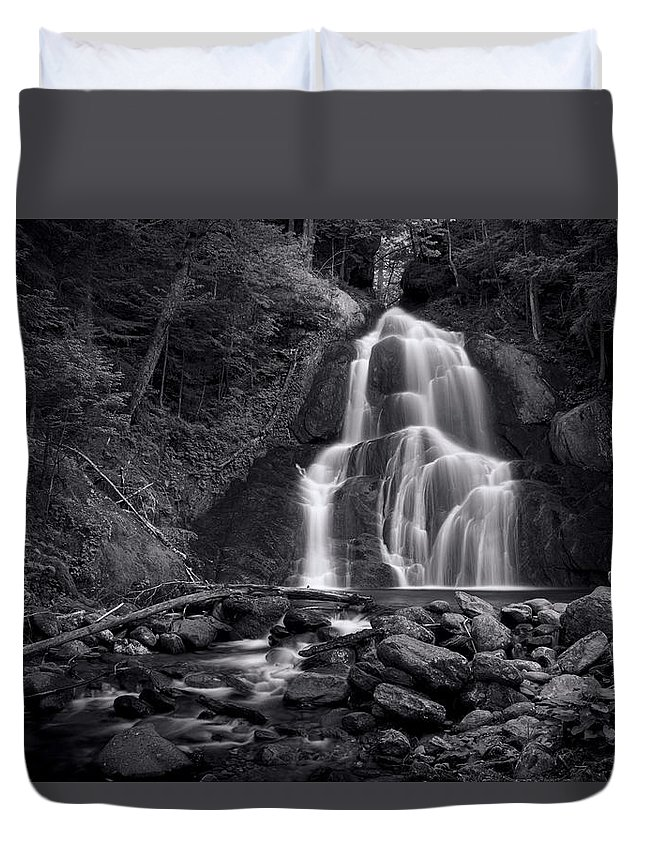 Moss Glen Falls Duvet Cover featuring the photograph Moss Glen Falls - Monochrome by Stephen Stookey