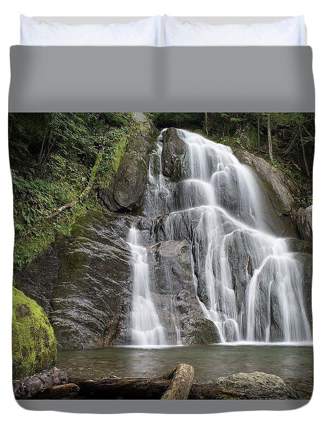 Falls Duvet Cover featuring the photograph Moss Glenn Falls - Granville by Alan Brown