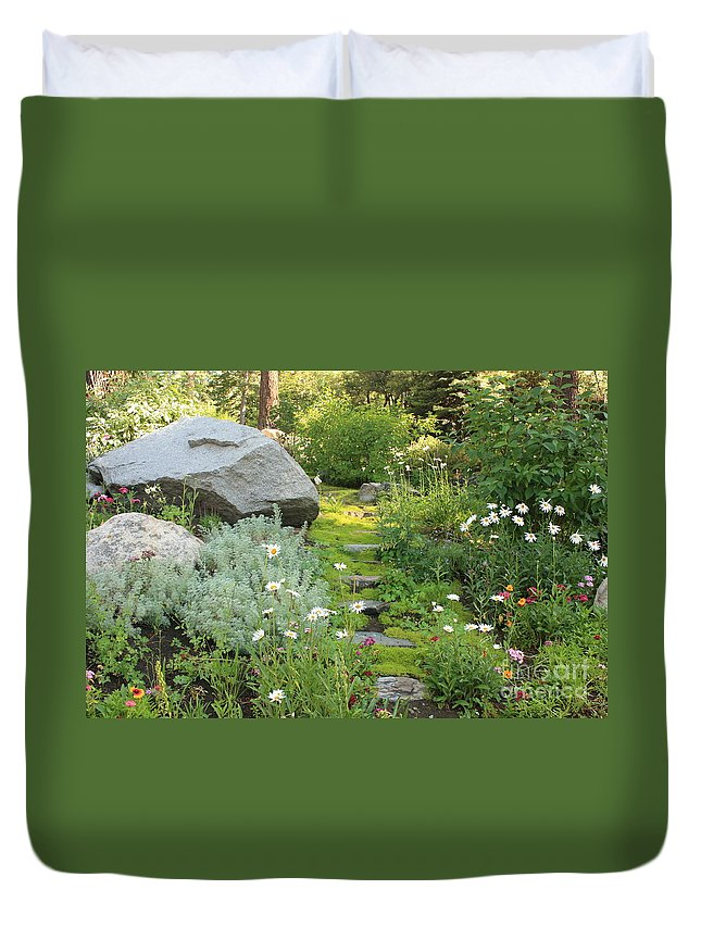 Mossy Path Duvet Cover featuring the photograph Mossy Path In Tahoe by Carol Groenen