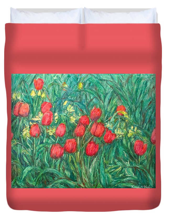 Kendall Kessler Duvet Cover featuring the painting Mostly Tulips by Kendall Kessler