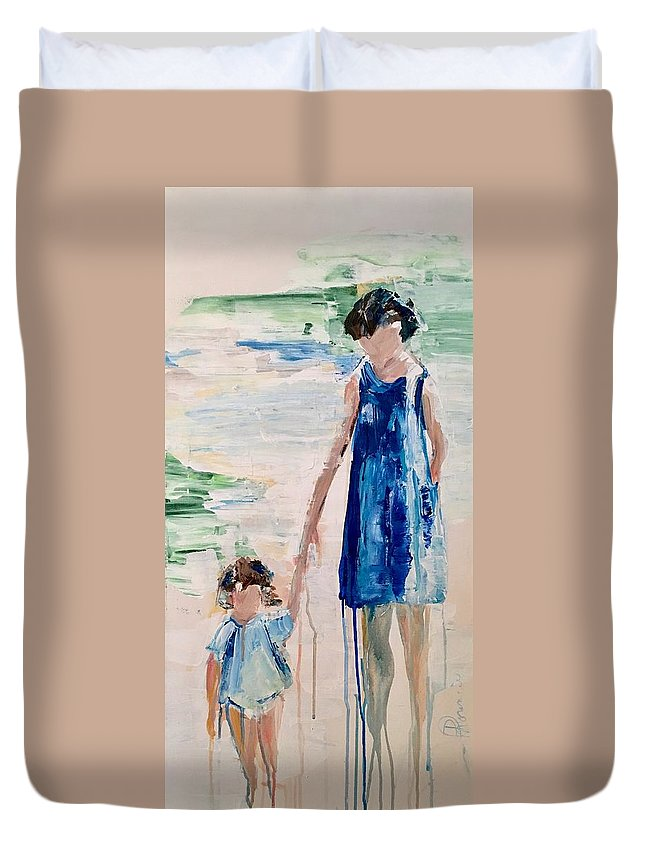 Family Duvet Cover featuring the painting Mother And Child by Denise Morencie