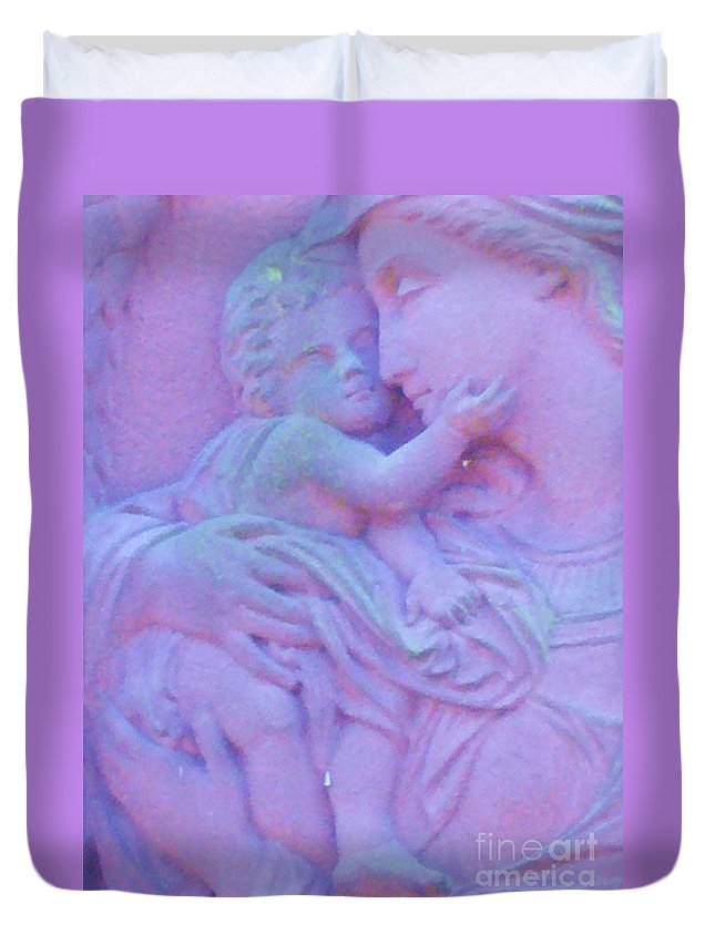 Mother And Child Duvet Cover featuring the photograph Mother And Child In Lavender by Leonore VanScheidt