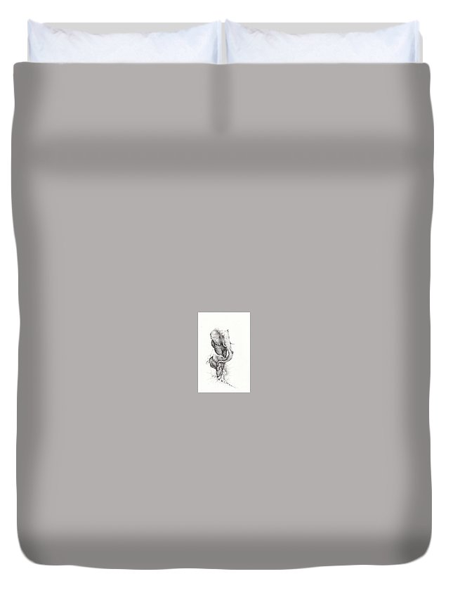 Elephant Duvet Cover featuring the drawing Mother And Child by Kay Walker