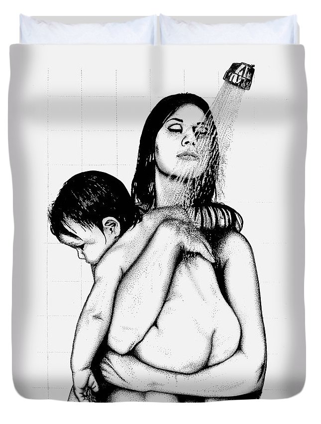 Mother And Child Duvet Cover featuring the drawing Mother And Child by Larry Lehman