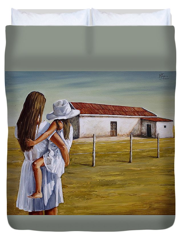 Mother And Daughter Duvet Cover featuring the painting Mother And Daughter Iv by Natalia Tejera