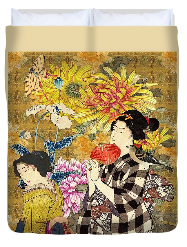 Japanese Duvet Cover featuring the digital art Mother and Daughter by Laura Botsford