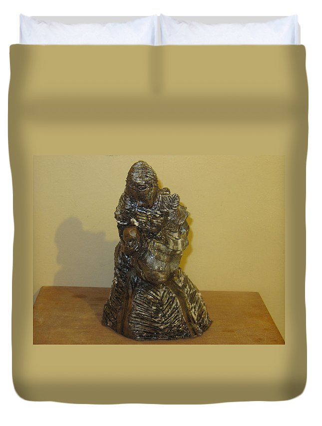 Jesus Duvet Cover featuring the sculpture Mother Feeding Baby by Gloria Ssali