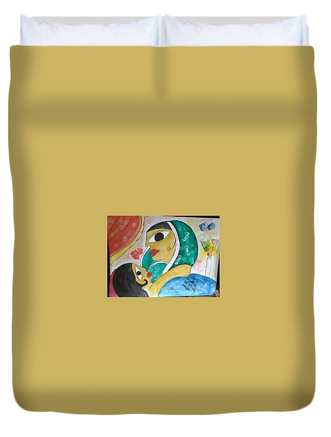 Duvet Cover featuring the drawing Mother Love by Pritam Modak