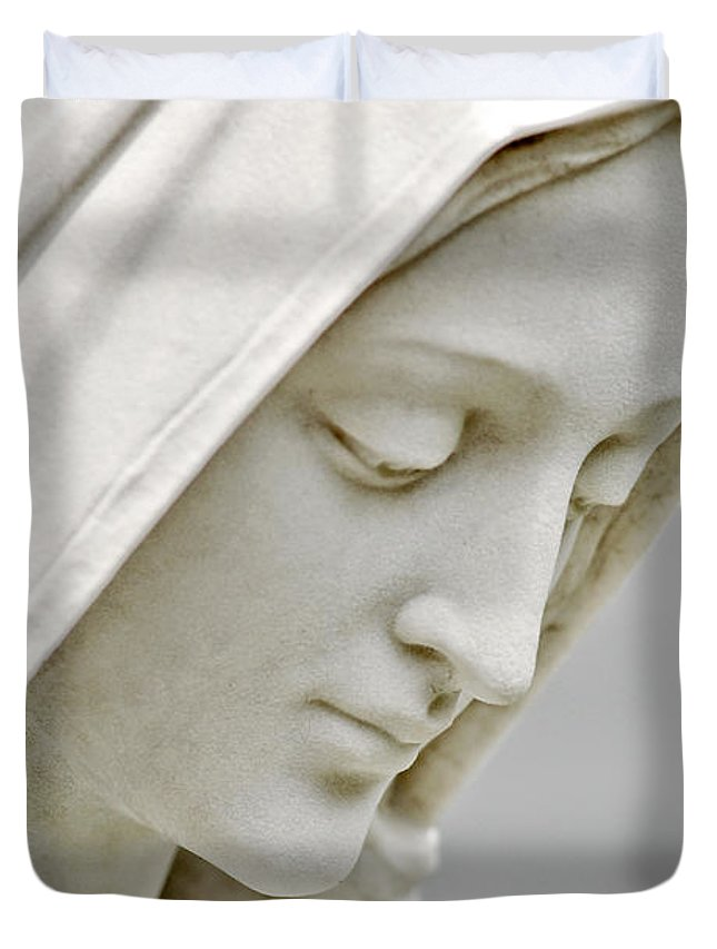 Statue Duvet Cover featuring the photograph Mother Mary Comes To Me... by Greg Fortier