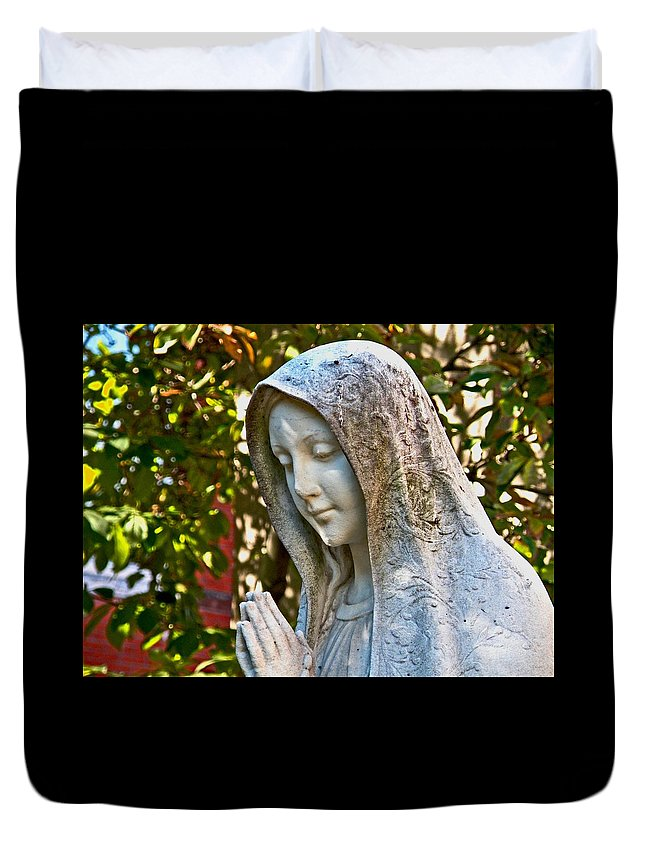 Mother Mary Duvet Cover featuring the photograph Mother Mary by Donna Shahan