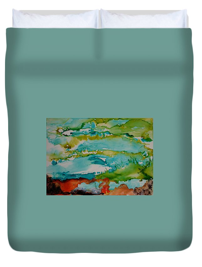 Wave Duvet Cover featuring the mixed media Mother Ocean by Susan Kubes