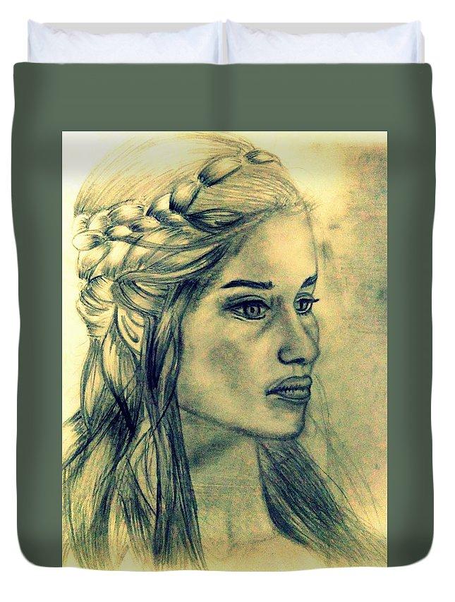 Khaleesi Duvet Cover featuring the digital art Mother Of Dragons by Siddharth Jain