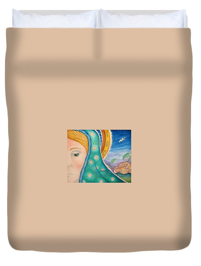 Texas Duvet Cover featuring the painting Mother Of My Soul by Jeniffer Stapher-Thomas