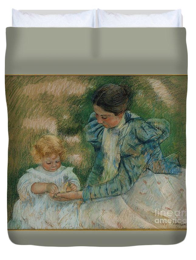 Mary Cassatt Duvet Cover featuring the painting Mother Playing With Child by Celestial Images