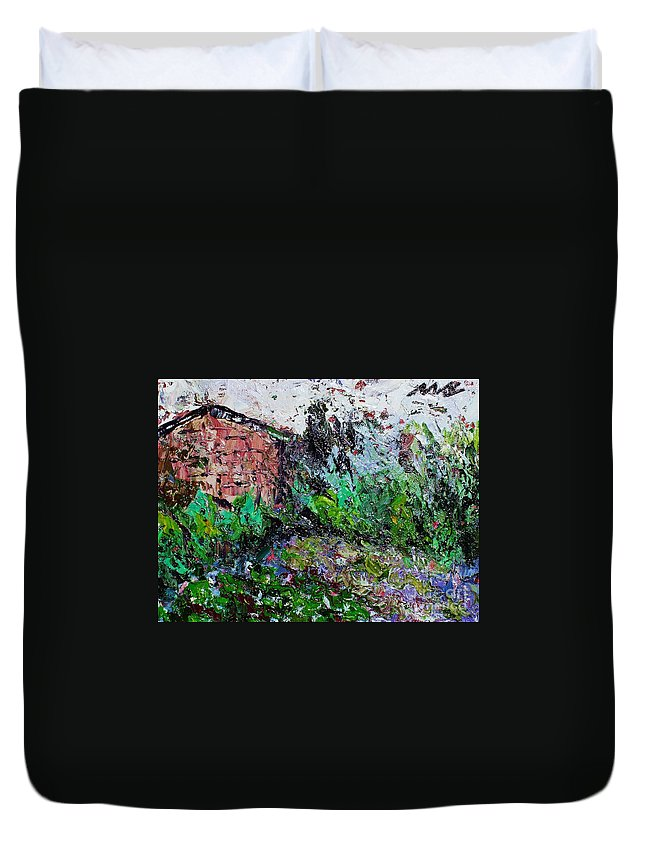 Garden Paintings Duvet Cover featuring the painting Mother by Seon-Jeong Kim