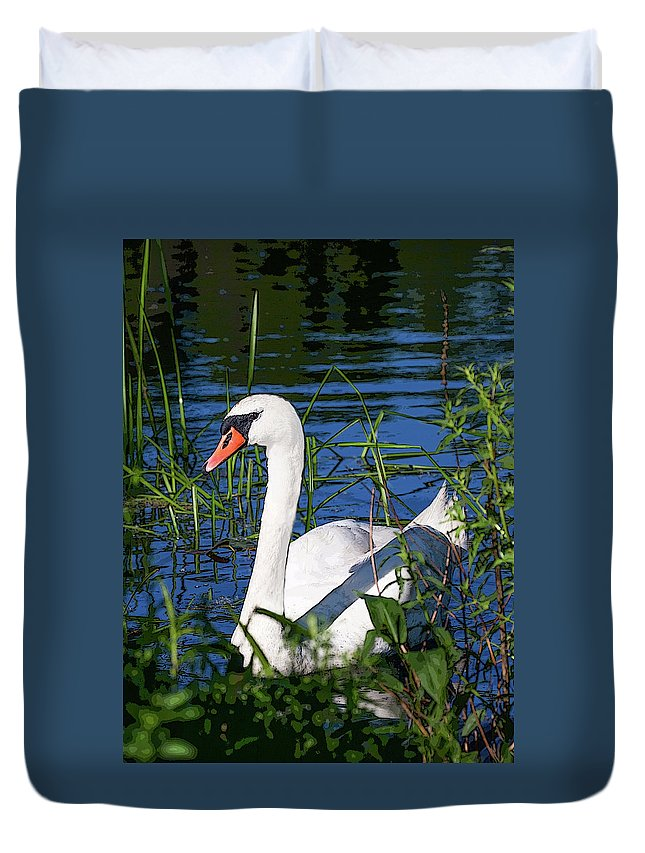 Swan Duvet Cover featuring the digital art Mother Swan by Janet Argenta