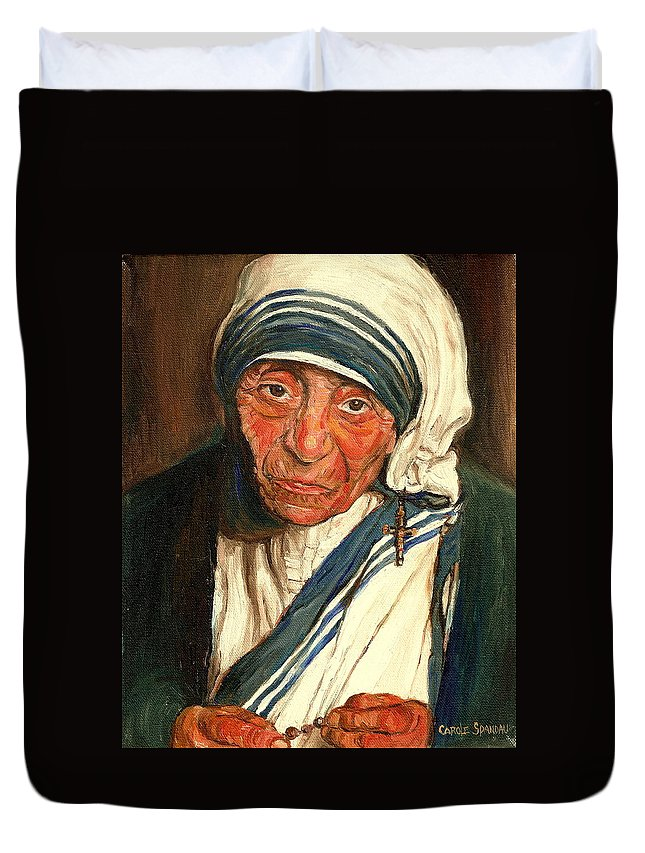Mother Teresa Duvet Cover featuring the painting Mother Teresa by Carole Spandau