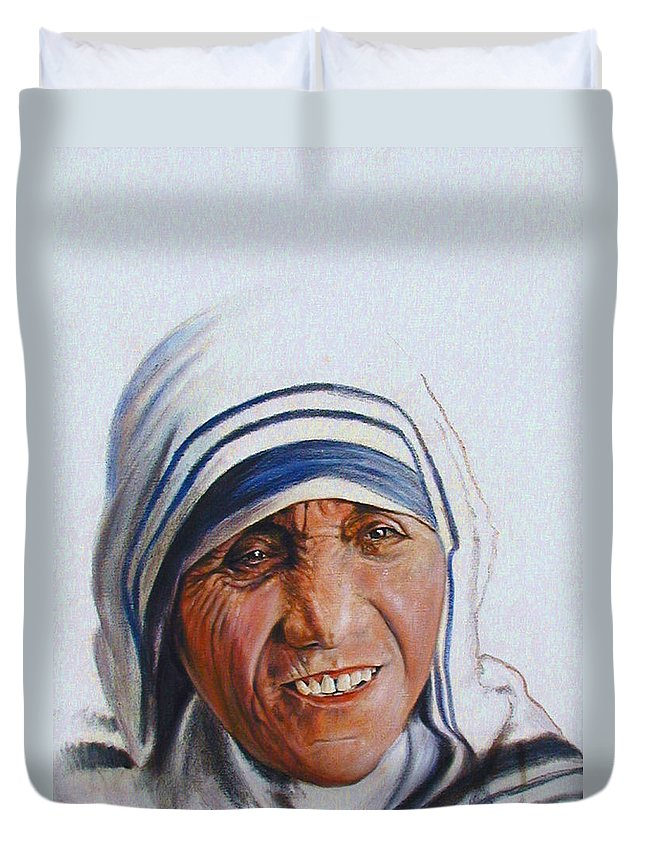 Mother Teresa Duvet Cover featuring the painting Mother Teresa by John Lautermilch