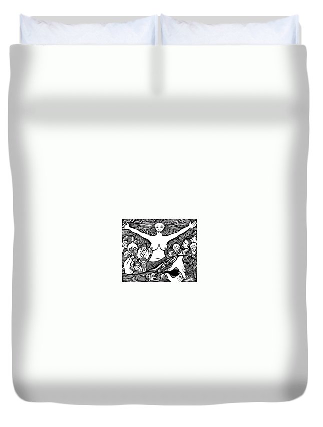 Drawing Duvet Cover featuring the painting Mother... Wife... And Lover... by Jose Alberto Gomes Pereira