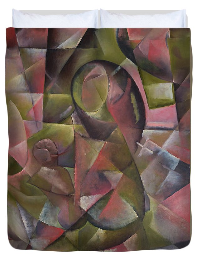 Abstract Duvet Cover featuring the painting Motherhood by Ilgar Talibov
