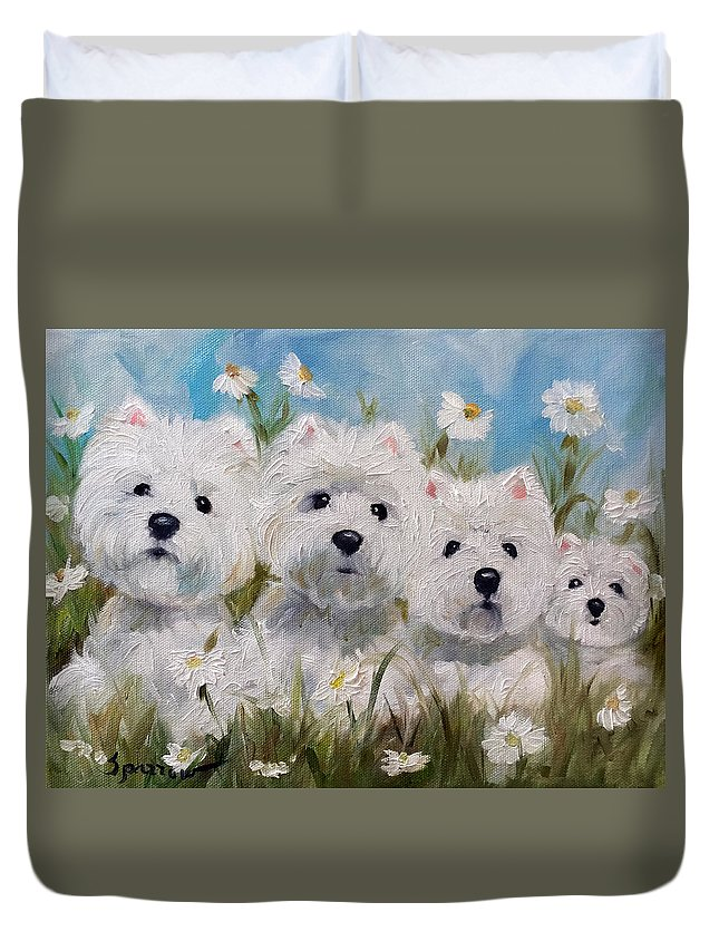 Westie Duvet Cover featuring the painting Mother's And Daughters by Mary Sparrow
