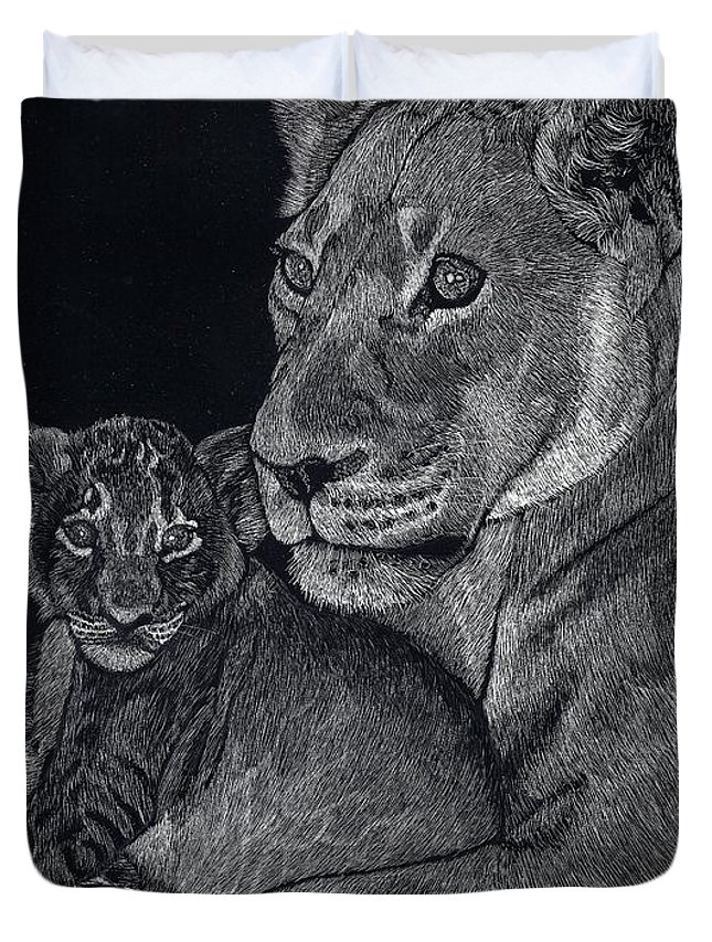 Lion Duvet Cover featuring the drawing Mothers Arms by Yenni Harrison