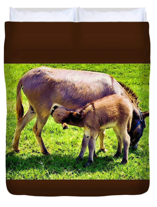 Animals Duvet Cover featuring the photograph Mother's Milk by Jan Amiss Photography