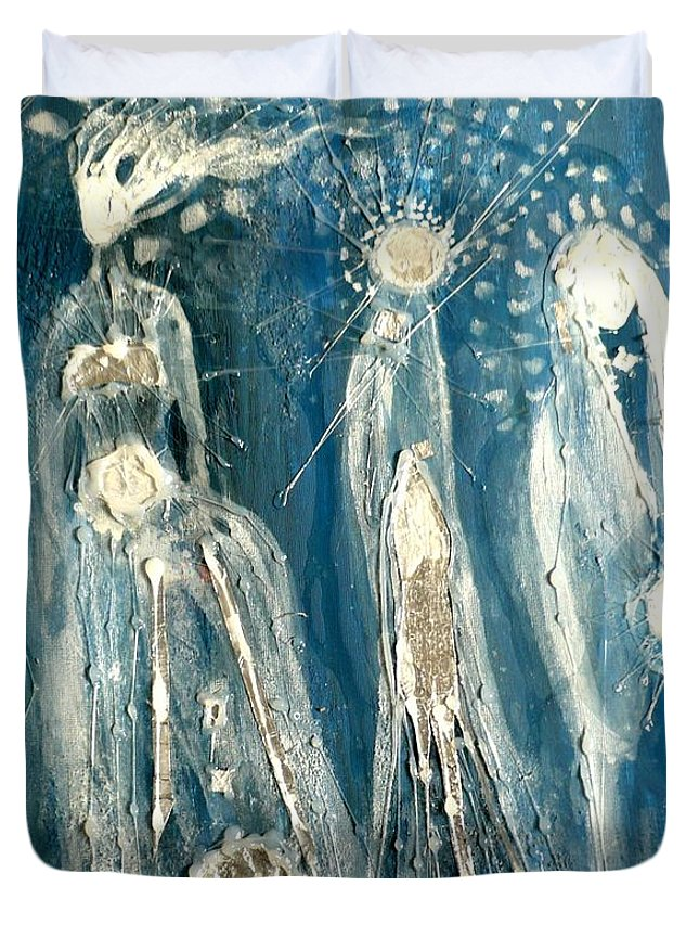 Mother Duvet Cover featuring the painting Mothers by 'REA' Gallery