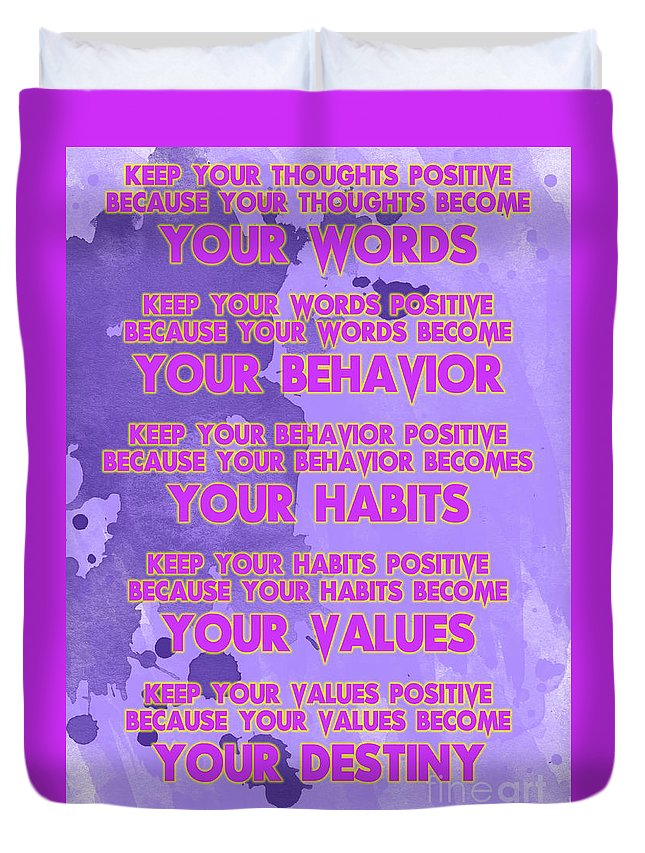 Motivational Quotes Keep Your Words Positive Ghandi Duvet Cover