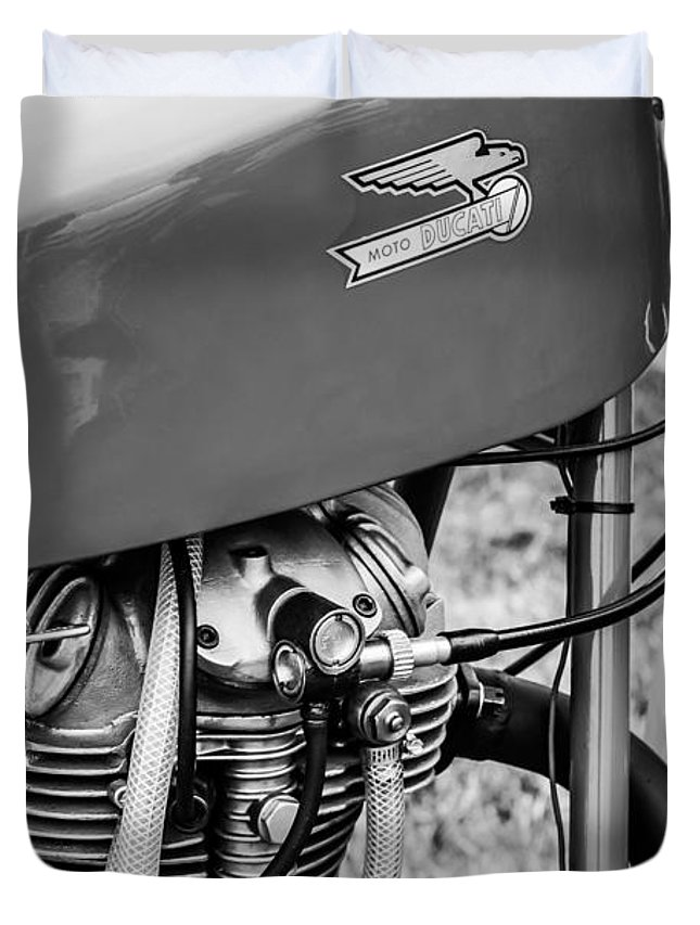 Moto Ducati Motorcycle Duvet Cover featuring the photograph Moto Ducati Motorcycle -2115bw by Jill Reger