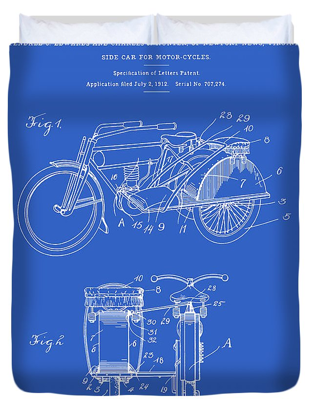 Patent Duvet Cover featuring the digital art Motorcycle Sidecar Patent 1912 - Blueprint by Finlay McNevin