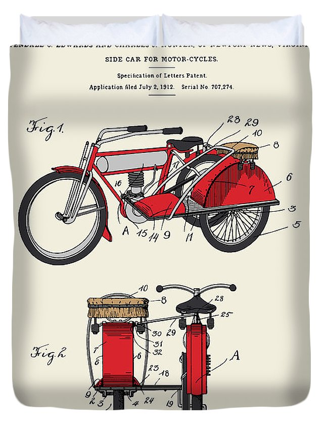 Patent Duvet Cover featuring the digital art Motorcycle Sidecar Patent 1912 by Finlay McNevin