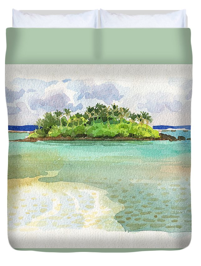 Landscape Duvet Cover featuring the painting Motu Taakoka by Judith Kunzle