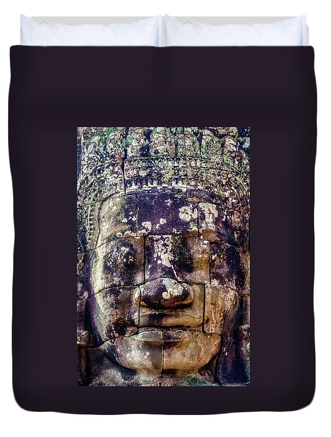 Algae Moss Mould Fungus Fungi Damage Destruction Destroying Dama Duvet Cover featuring the photograph Mould Damage At Angkor Thom by Art Phaneuf