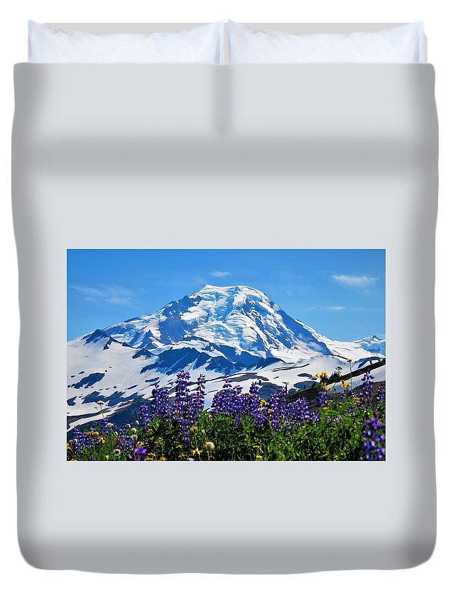 Mount Bake Washington State Mountain Cascade Spring Lupine Duvet Cover featuring the photograph Mount Baker Wildflowers by Daniel Mazzei