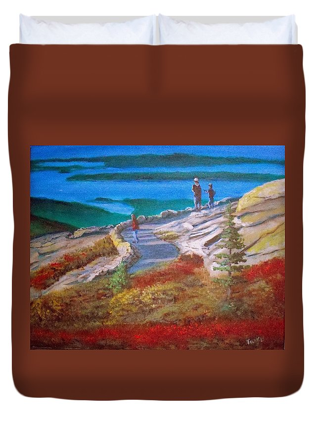 Acadia National Park Duvet Cover featuring the painting Mount Cadilac Path by William Tremble