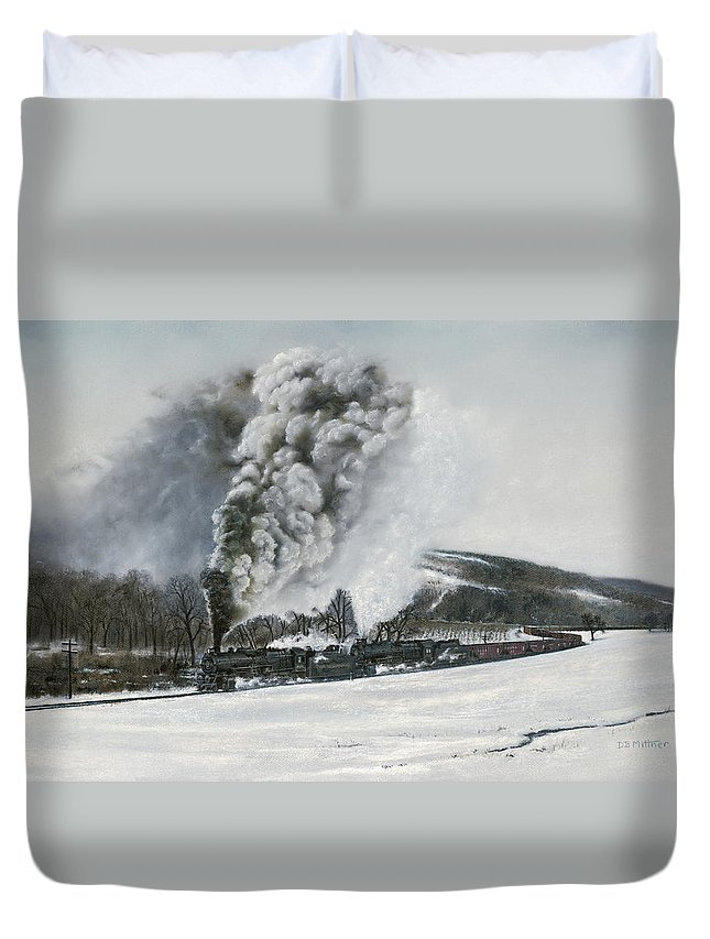 Trains Duvet Cover featuring the painting Mount Carmel Eruption by David Mittner