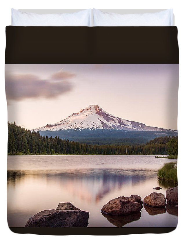 Trillium Lake Duvet Cover featuring the photograph Mount Hood by Christy Hibsch