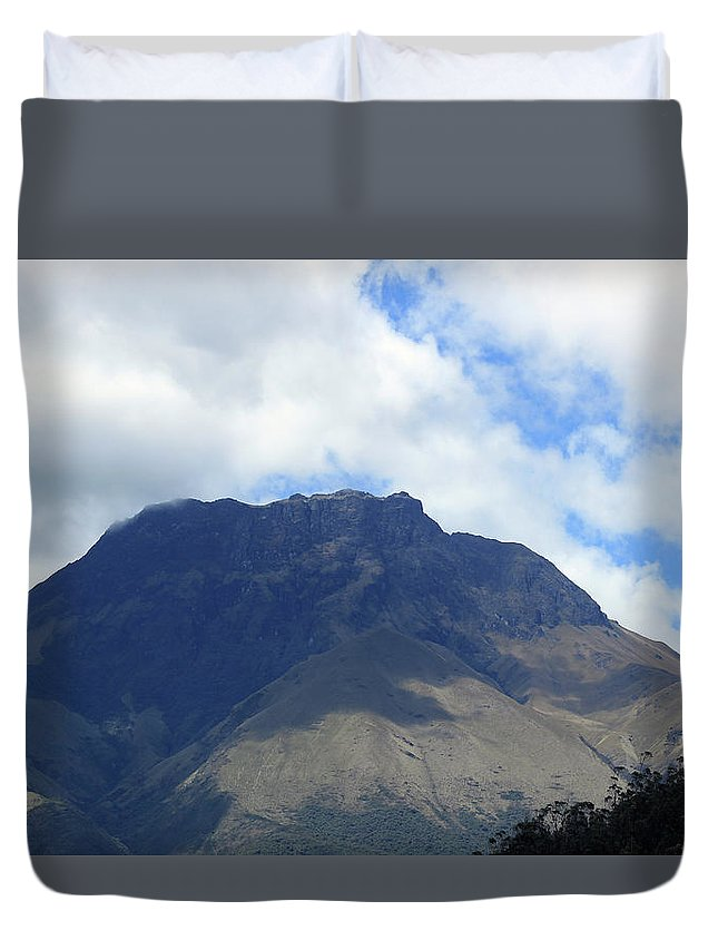 Mountain Duvet Cover featuring the photograph Mount Imbabura And Cloudy Sky by Robert Hamm