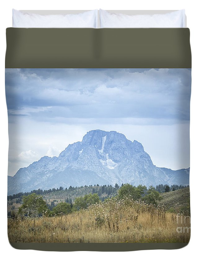Mount Moran Duvet Cover featuring the photograph Mount Moran I Nblue by Carolyn Fox