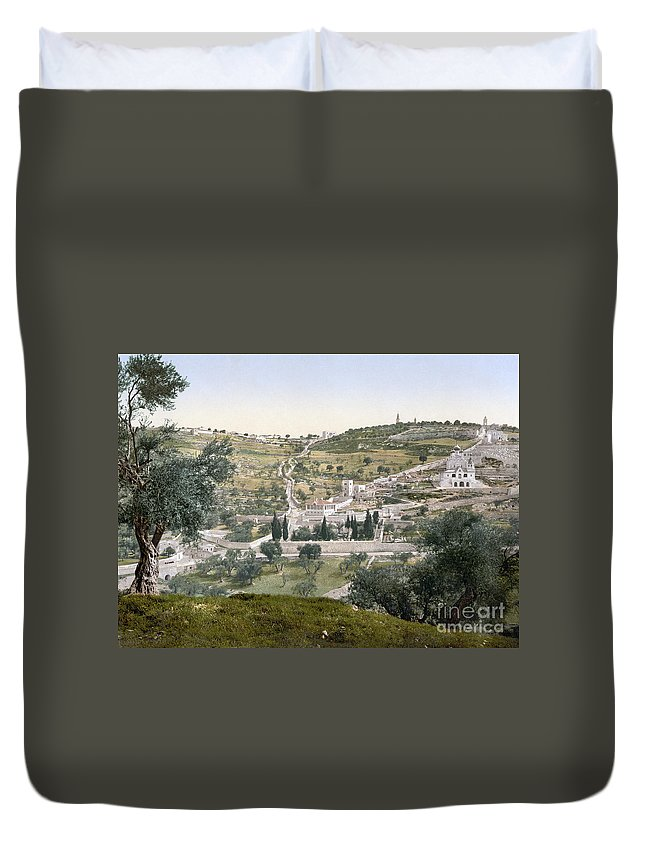 1900 Duvet Cover featuring the photograph Mount Of Olives, C1900 by Granger