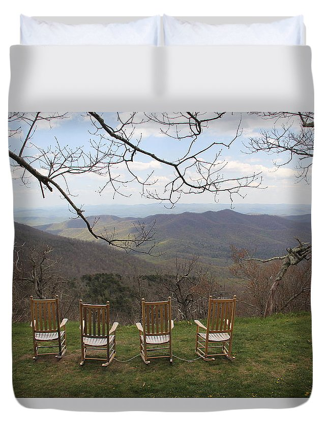 Mountains Duvet Cover featuring the photograph Mount Pisgah View by Allen Nice-Webb