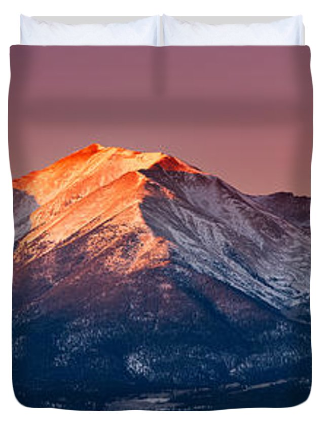 Pano Duvet Cover featuring the photograph Mount Princeton Moonset At Sunrise by Darren White