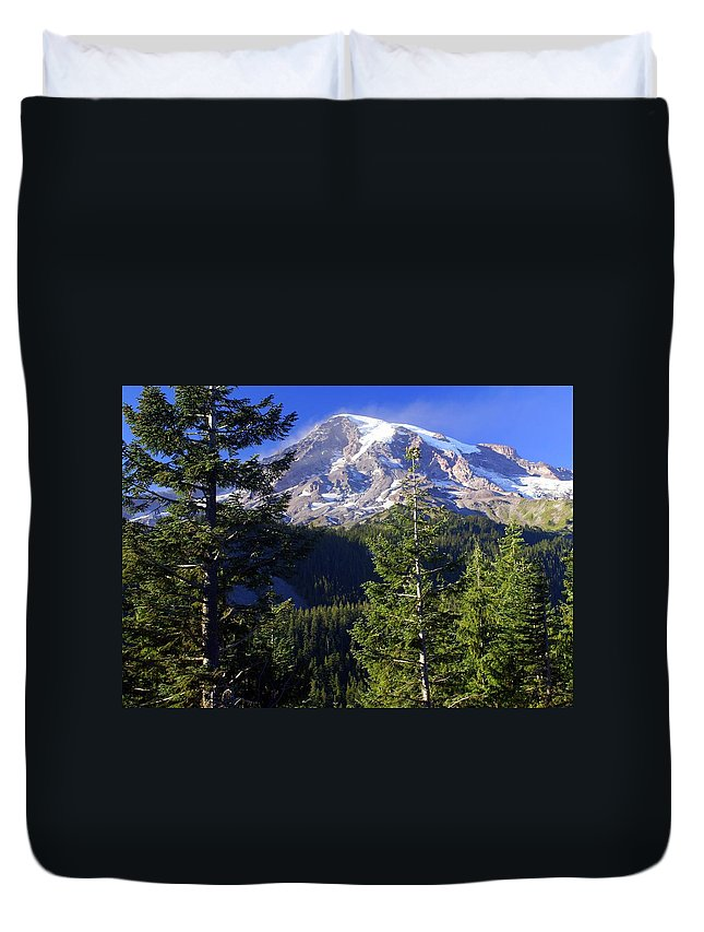 Mount Raineer Duvet Cover featuring the photograph Mount Raineer 1 by Marty Koch