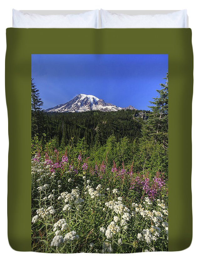 3scape Duvet Cover featuring the photograph Mount Rainier by Adam Romanowicz