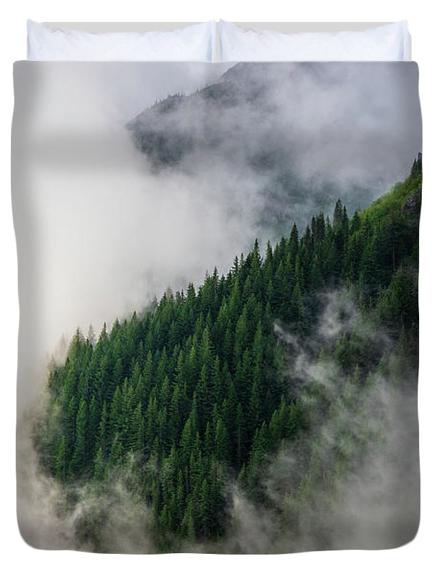 Rainier Duvet Cover featuring the photograph Mount Rainier National Park Clouds And Forest by Mike Reid