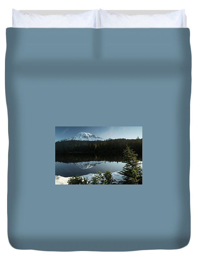 Duvet Cover featuring the photograph Mount Rainier Reflection Lake W/ Tree by Zach Rockvam