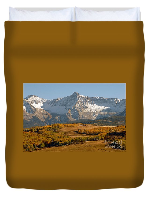 Mount Sneffels Duvet Cover featuring the photograph Mount Sneffels by David Lee Thompson