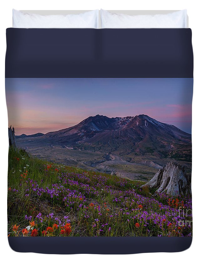 St Helens Duvet Cover featuring the photograph Mount St Helens Spring Colors by Mike Reid